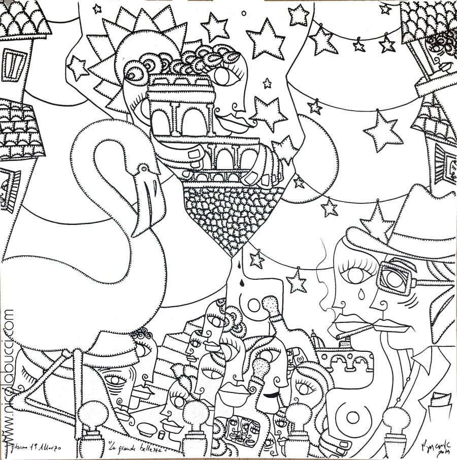 "Nicola Bucci - ""La grande bellezza"" - ink on canvas - 100x100 cm - 2014"