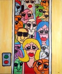"""Nicola Bucci - """"In ascensore"""" - olio su tela - 100x120 cm - 2003"""