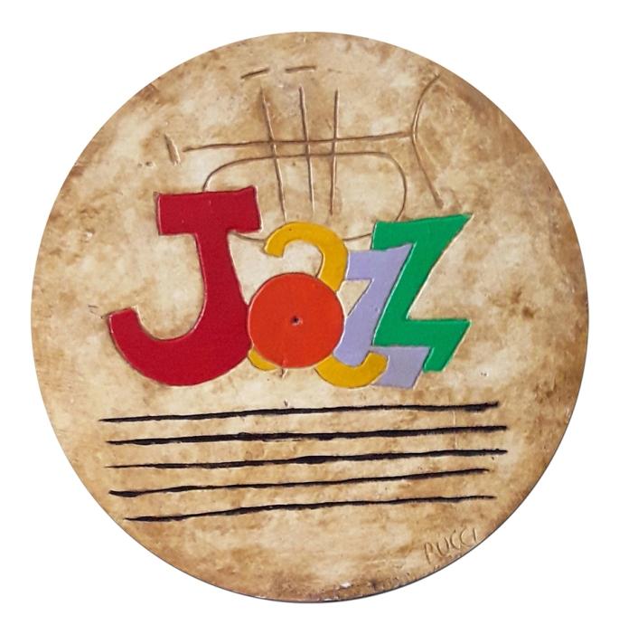 "Nicola Bucci - ""Jazz"" - graffito su tavola - tecnica mista su tavola - 60x60 cm"