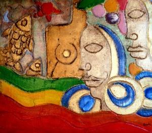 "Nicola Bucci - ""Graffito RGV"" - tecnica mista su tavola - 100x80 cm - 2006"