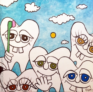 "Nicola Bucci - ""Dentini"" - bassorilievo su tavola - tecnica mista - 100x100 cm - 2015"