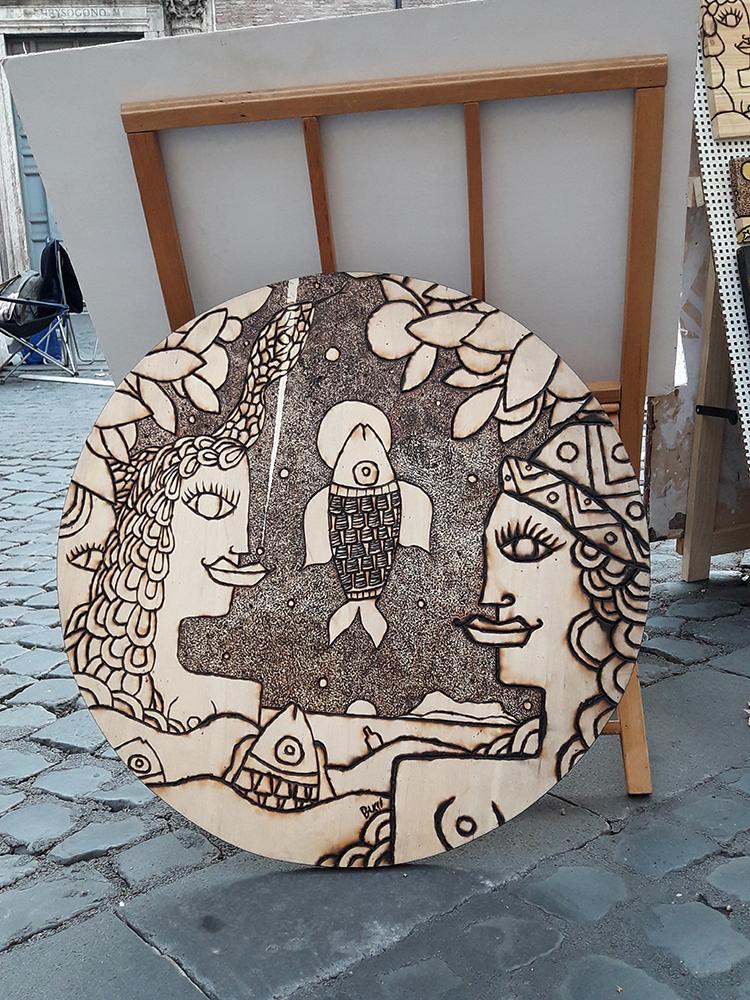 """Nicola Bucci - """"T"""" Pirografie - Base Tavolo - 65x65x4 cm"""