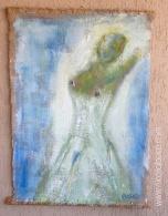 """Nicola Bucci - """"J 22"""" - acrilico su tela di juta - 70x100 cm"""