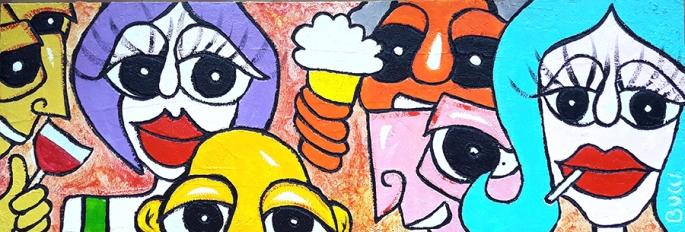 """Nicola Bucci - """"Cheers!"""" - Graffito su tavola - tecnica mista - 123x41 cm"""