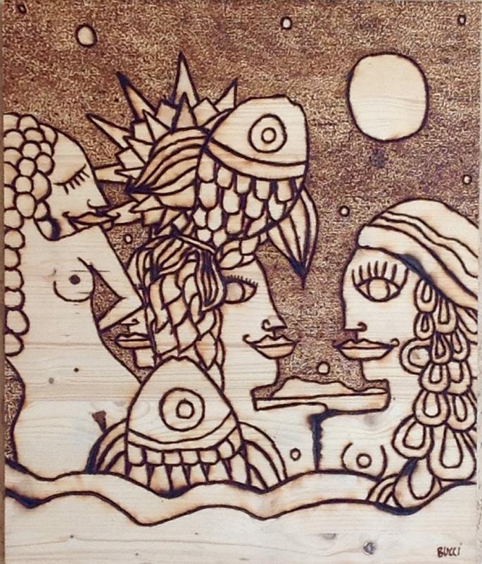 """Nicola Bucci - """"T"""" - Pirografia - 40x50x3 cm"""