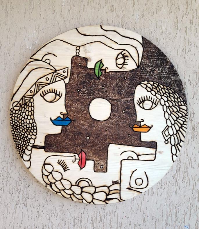 "Nicola Bucci - ""D"" (base tavolo) - Pirografia - 60x60x4 cm"